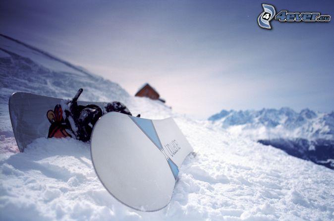 snowboard, snow, snowy mountains