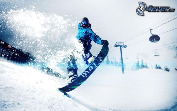 snowboarding, cable-car, snow
