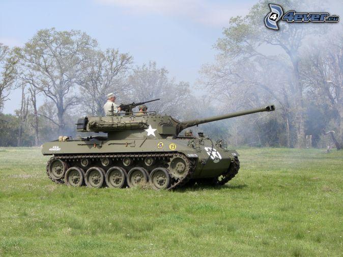 M18 Hellcat, tank, soldiers, meadow