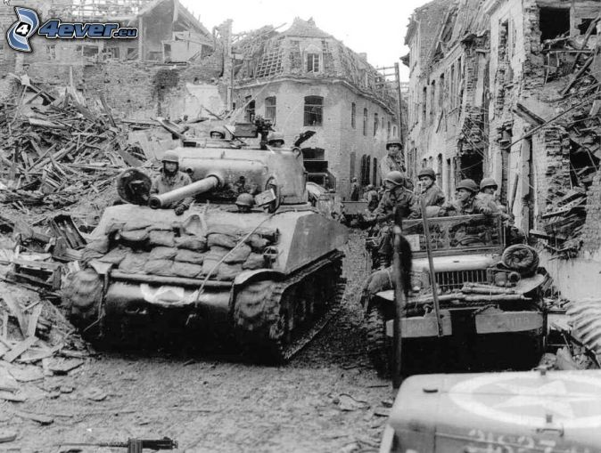 M18 Hellcat, tanks, ruined city, old photographs, black and white photo