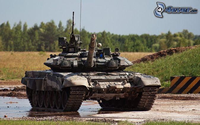 T-90, tank, meadow, forest