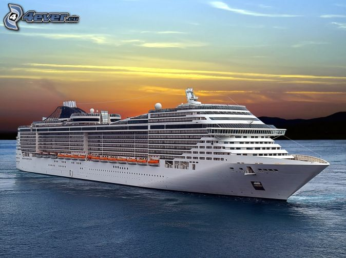 luxury ship, after sunset
