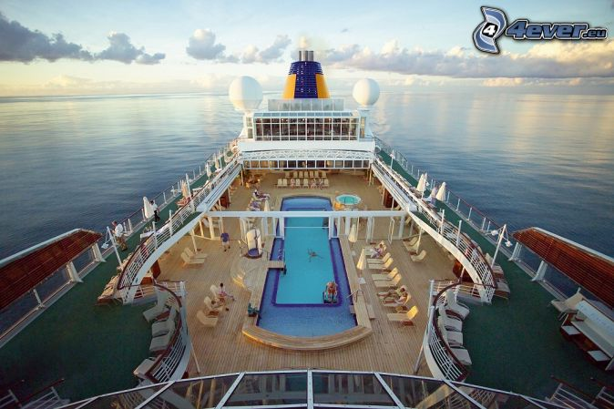 luxury ship, open sea, clouds, pool