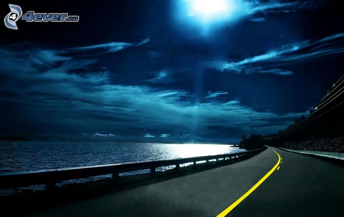 night route, moon, night sky