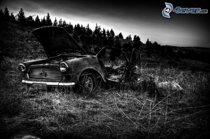 old ruined car, field, black and white photo