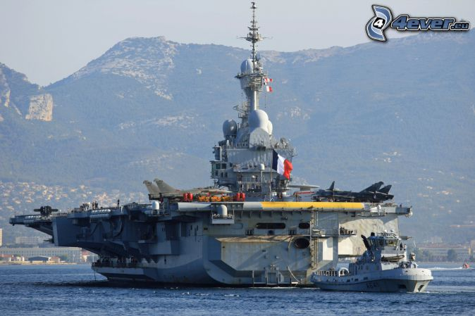 R91 Charles de Gaulle, aircraft carrier, mountain