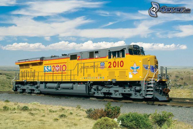 locomotive, Union Pacific, clouds