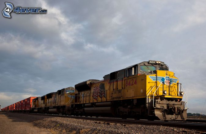 locomotive, Union Pacific, freight train