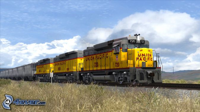locomotive, Union Pacific, freight train