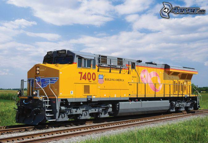 locomotive, Union Pacific, rails