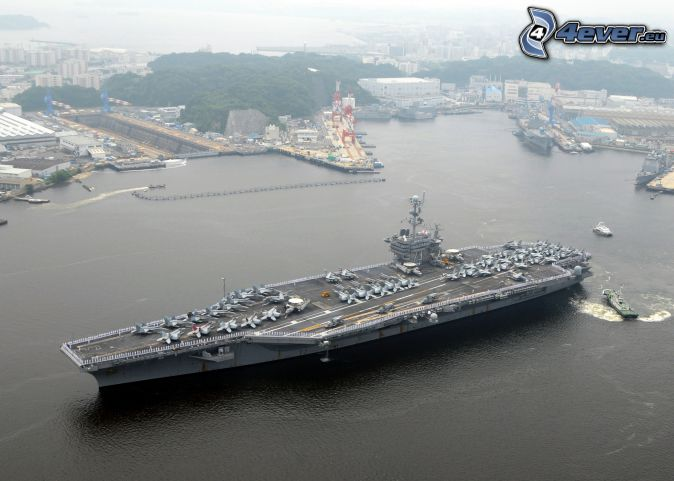 USS George Washington, aircraft carrier, harbor