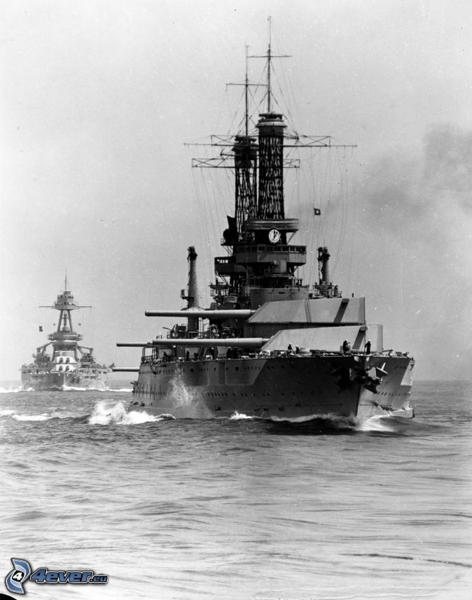USS Idaho, black and white photo