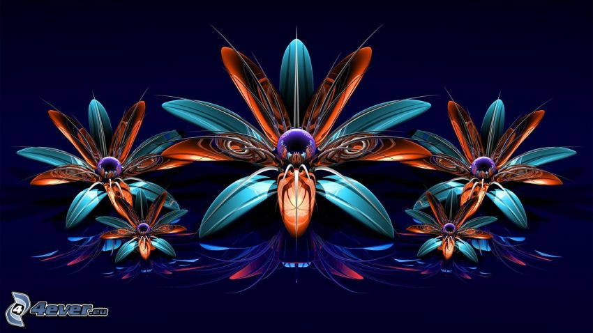 Abstract flowers, 3D