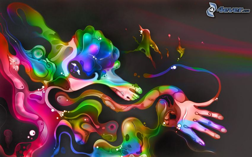 abstract splash, feet, hand, colorful background