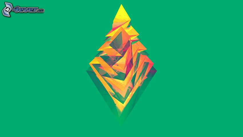 abstract triangles, green background