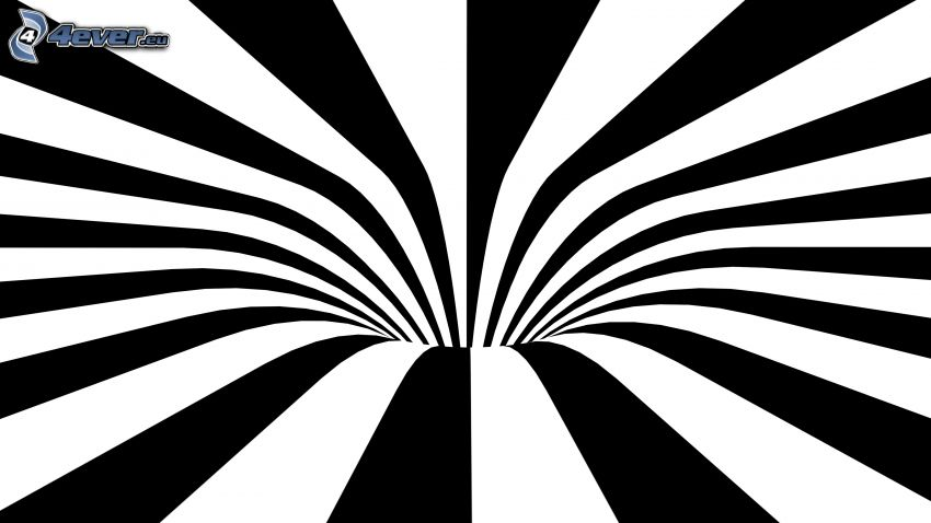 abstract tunnel, black and white, stripes