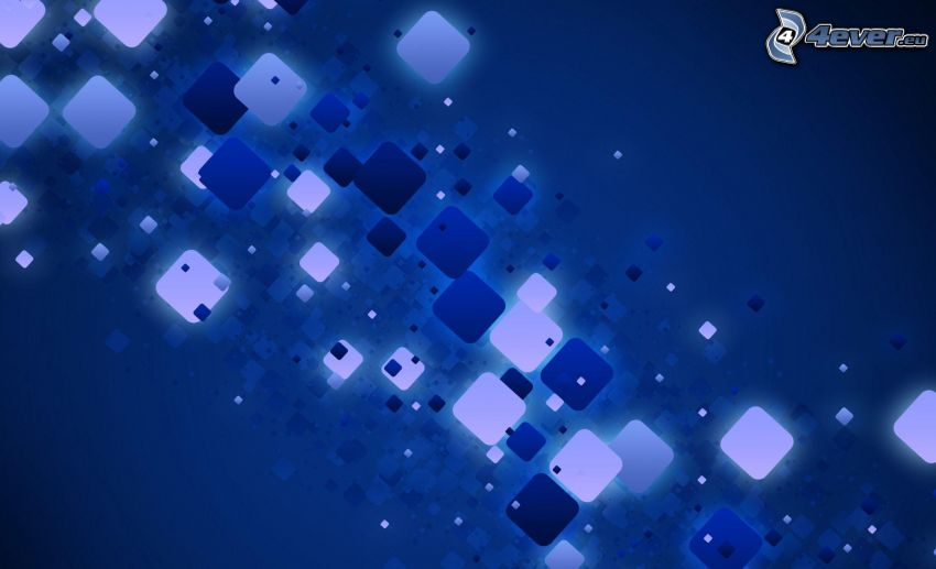 blue background, abstract squares