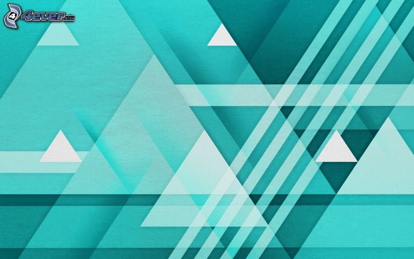 blue background, triangles, white lines