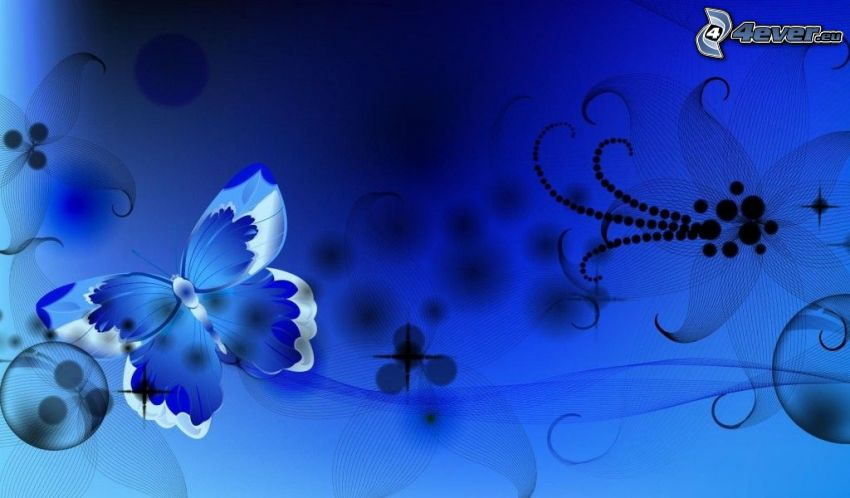blue butterfly, flower, lines, circles, blue background