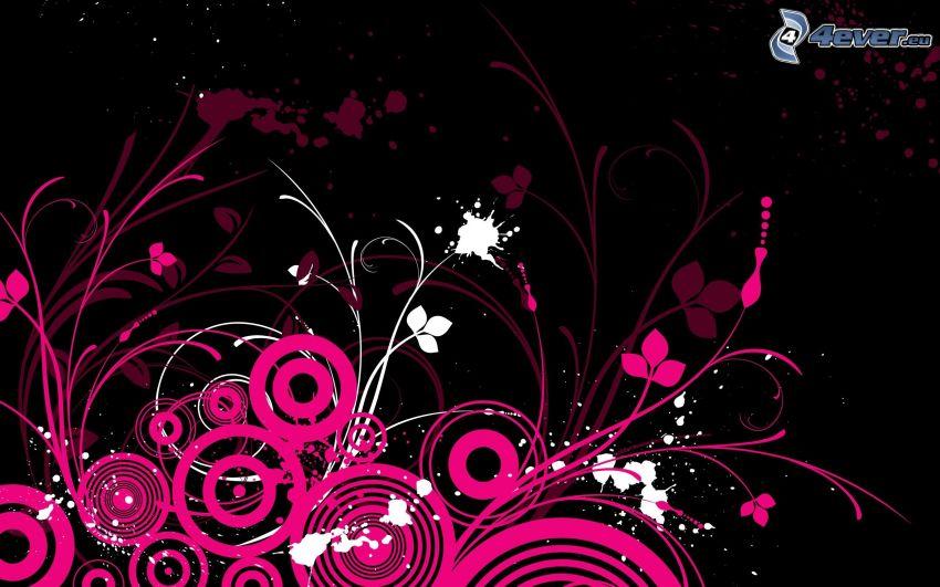 circles, cartoon flowers