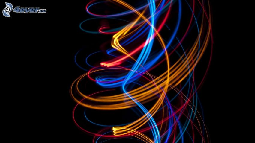 colored lines, black background