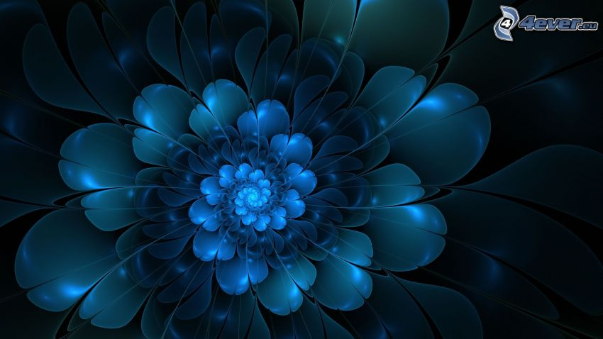 digital flowers, blue background