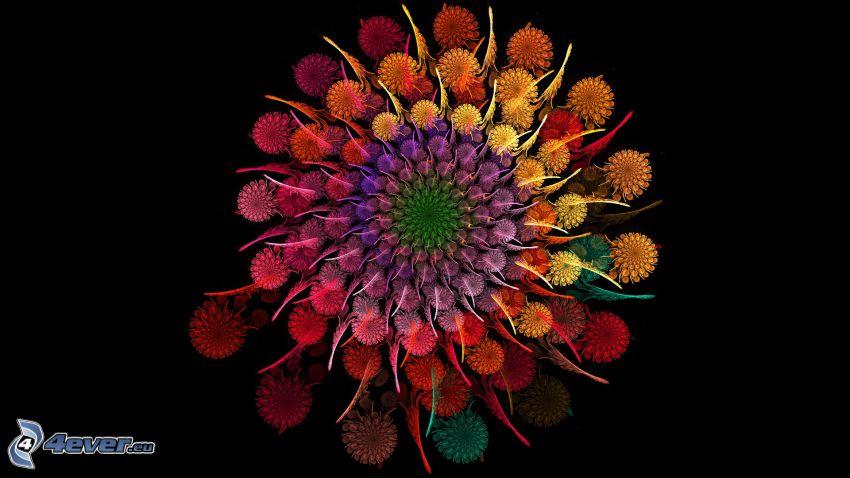 digital flowers, fractal, cartoon flowers