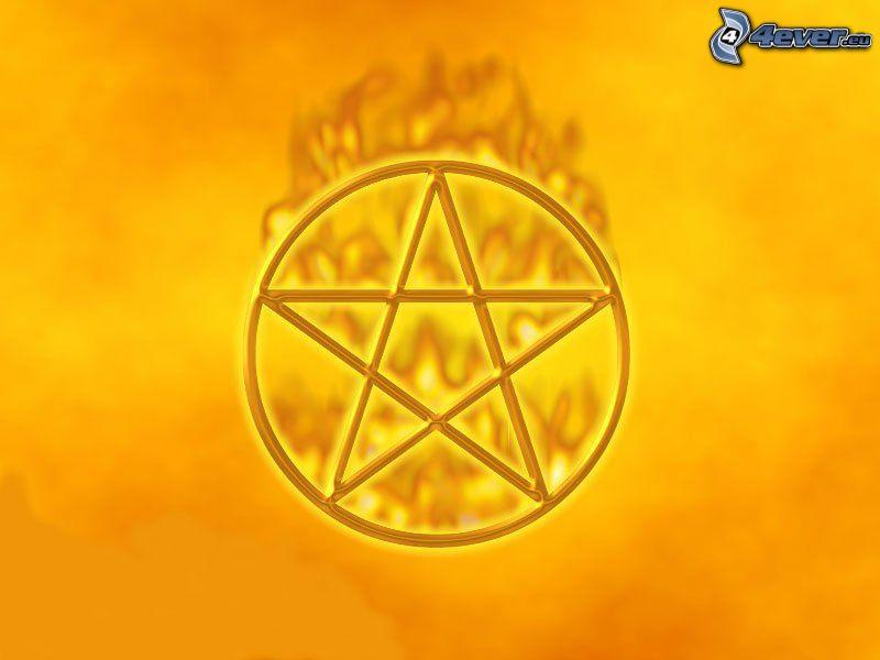 emblem, pentagram, star, fire
