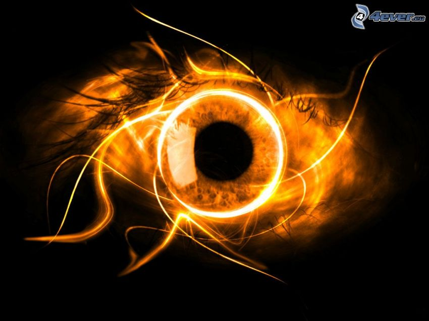 eye, flames, darkness