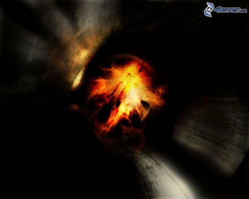 fiery eye, glow