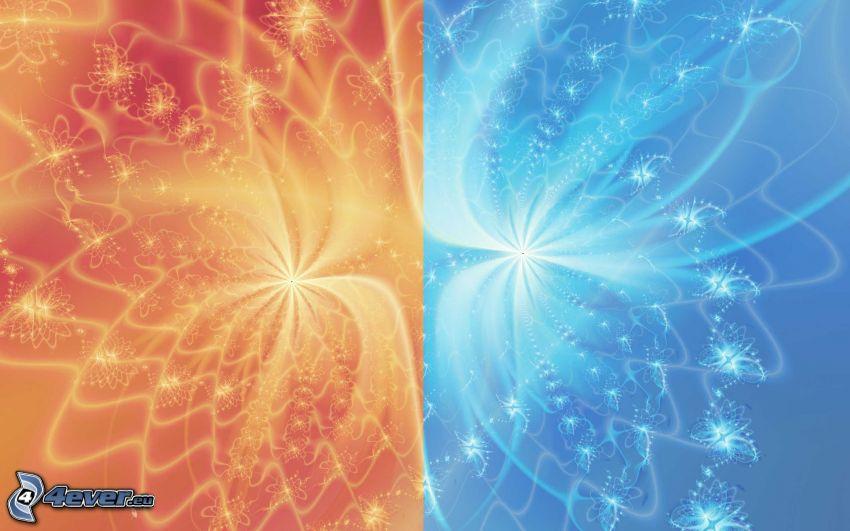fractals, red, blue