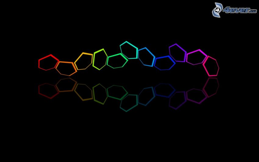 hexagons, colored