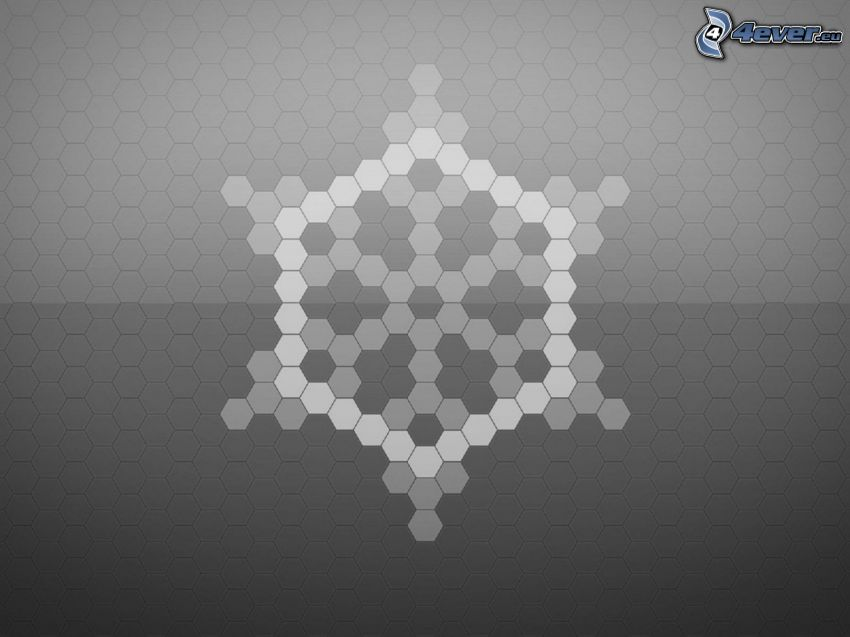 hexagons, gray background, snow flake