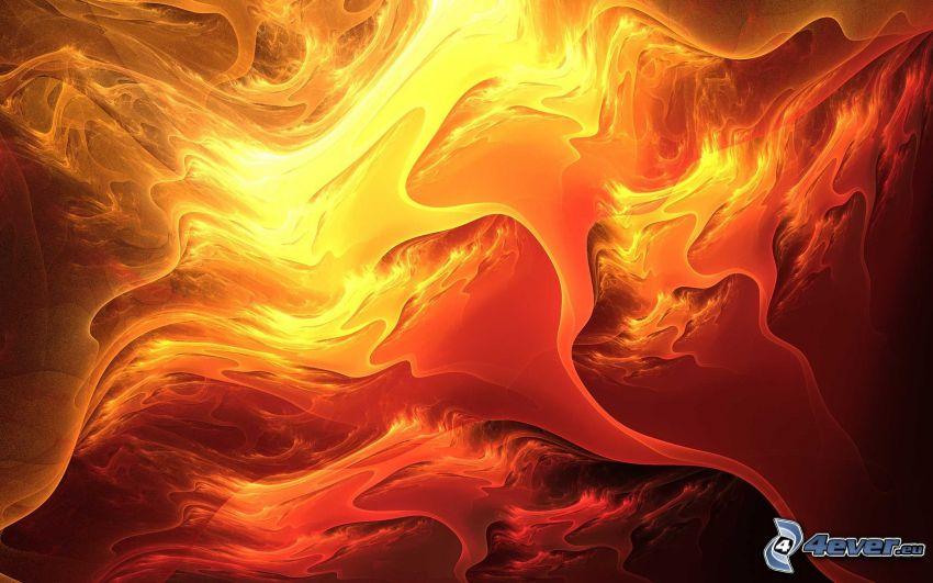 lava, fire, flames