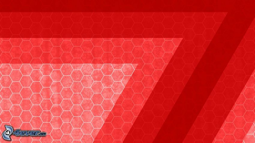 red background, hexagons