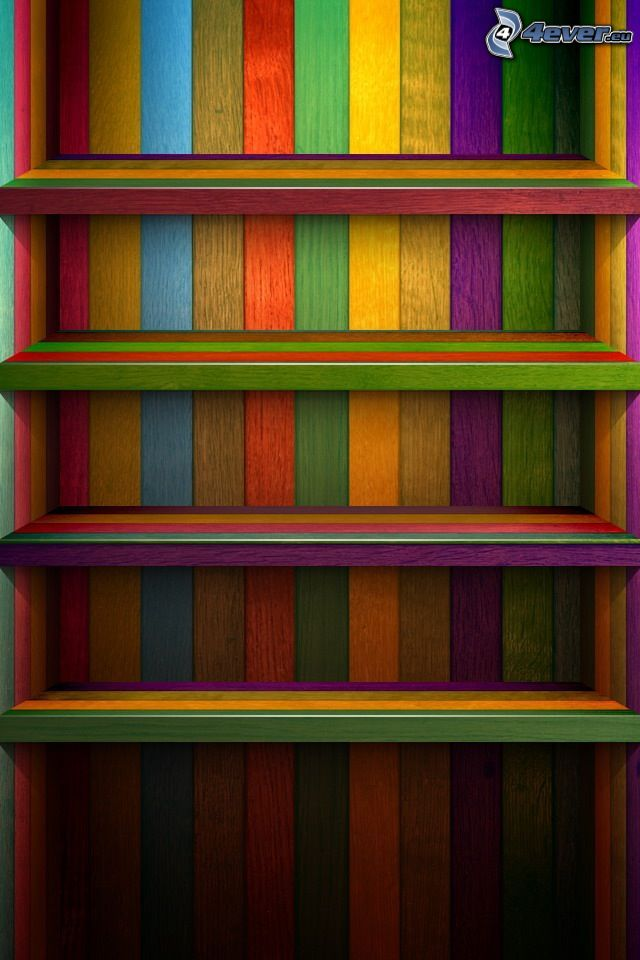 shelves, colored