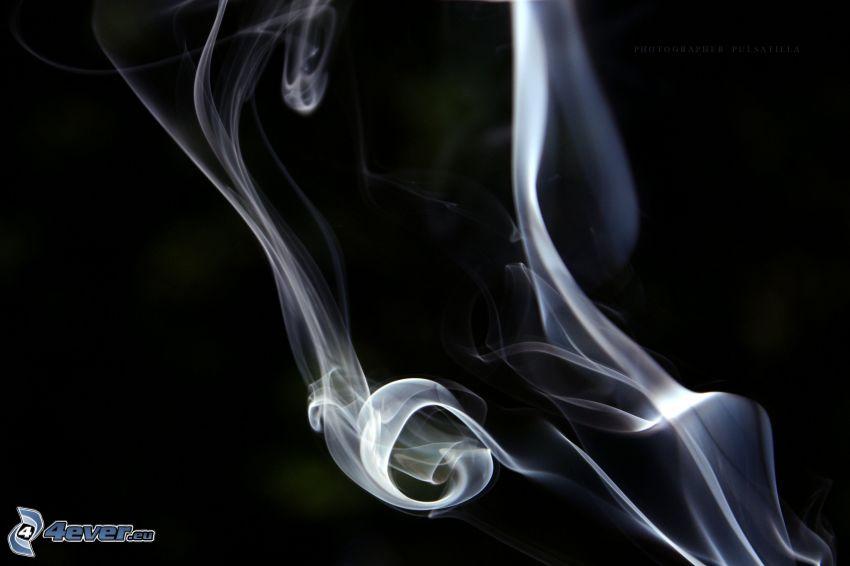 smoke, white lines