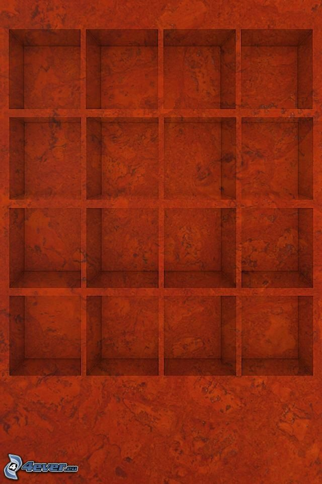 squares, shelves