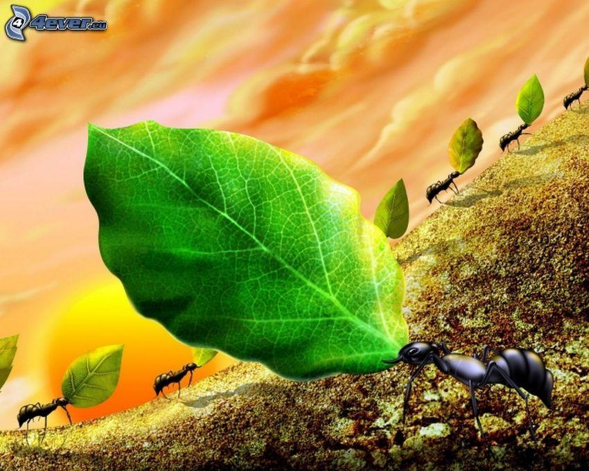 ants, green leaves, cartoon