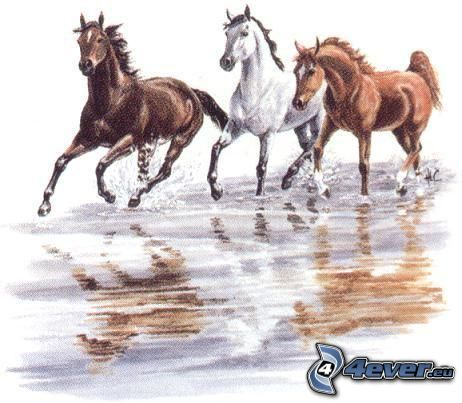 horses, cartoon, art, animals