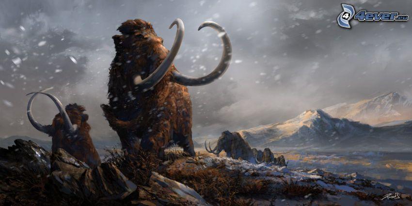 mammoths, snow, rocky hill