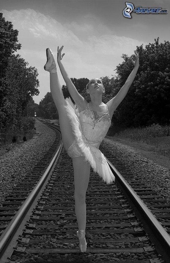 ballet, ballerina, rails