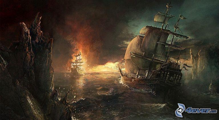 cartoon sailboat, ship