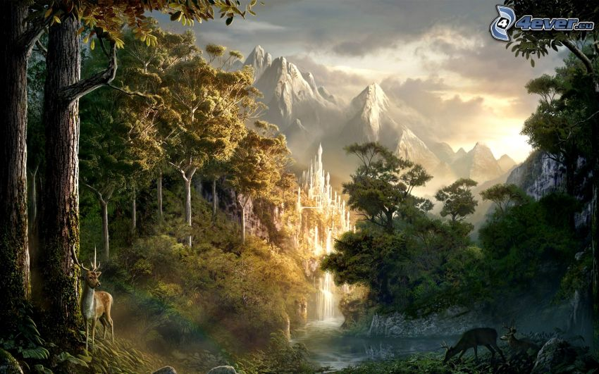fairy tale land, forest, deer, mountains