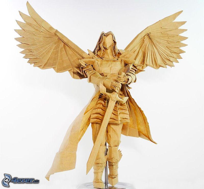 fantasy warrior, knight, wings, origami