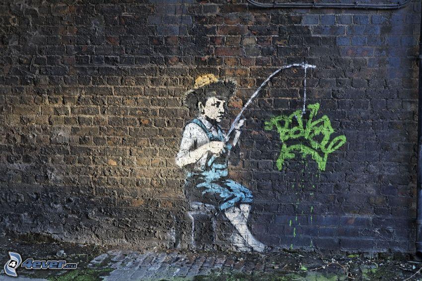 graffiti, boy, wall