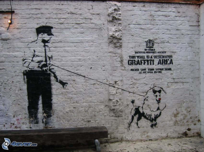 graffiti, police, dog