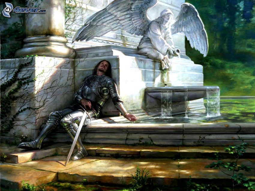 knight, fatigue, statue of angel, fountain, water