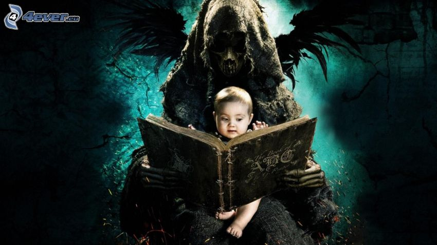 ABCs of Death, Grim Reaper, baby, old book