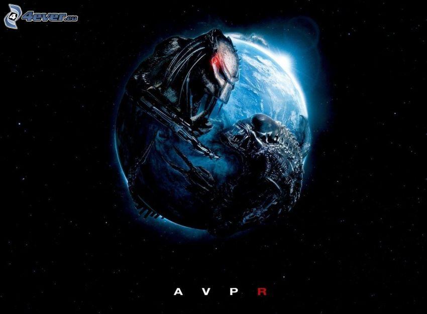 Alien vs. Predator, planet Earth, starry sky